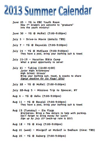 2013 Summer Calendar